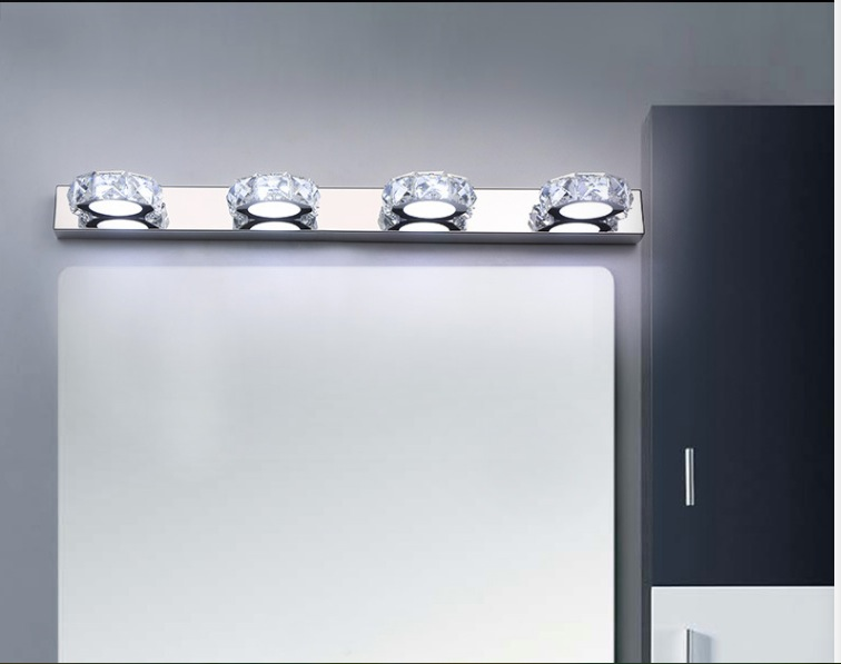 Modern 12W 63cm long LED wall light in bathroom Round Crystal Sconce Lamps Surface 4-lights Waterproof IC Driver AC 110V~220V modern 18w led waterproof bathroom wall light fxiture 680mm long crystal mirror lamps in bedroom 85 265v