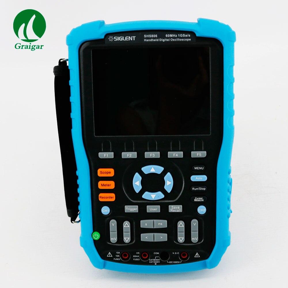 New Released Item SIGLENT SHS806 shs 806 60MHz 1GSa/s Handheld Digital Oscilloscope 2Mpts Memory Depth updated from dso 1060 hantek dso1062b handheld oscilloscope 2 channels 60mhz 1gsa s sample rate 1m memory depth 6000 counts dmm
