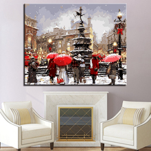 City Street Landscape Walking Man Picture By Numbers DIY Painting Kits Hand paited On Linen Canvas Home Decor Unique Gift