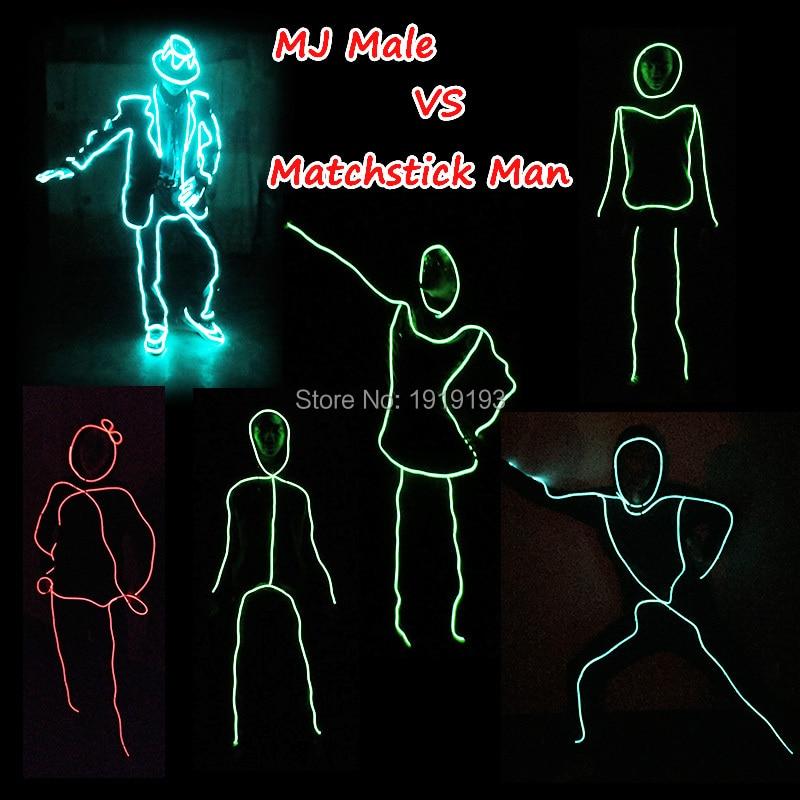 10 Color Choice DIY stilen til Matchstick skjønnhet LED dans Kostyme EL wire ferie belysning klær for Fest dekorasjon