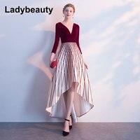 Ladybeauty 2018 V Neck Three Quarter Sleeve Asymmetrical Elegant Luxury Evening Dresses Famous Designer Party Formal Dress