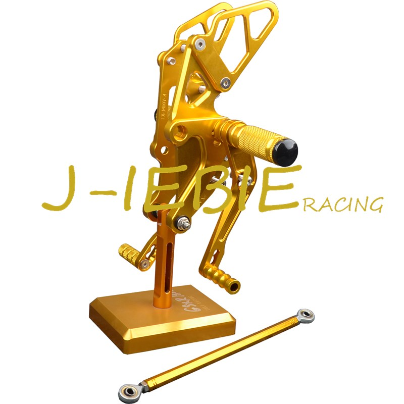 CNC Racing Rearset Adjustable Rear Sets Foot pegs Fit For Yamaha FZ07 MT07 2014 2015 2016 GOLD cnc aluminum motorcycle accessories rearset base foot pegs rear for yamaha yamaha yzf r3 yfz r3 mt 03 mt03 mt 03 2015 2016