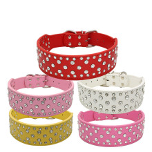 Fashion PU Leather Pet Dog Collar With Bling Style Adjustable Harness Leash For Medium Large