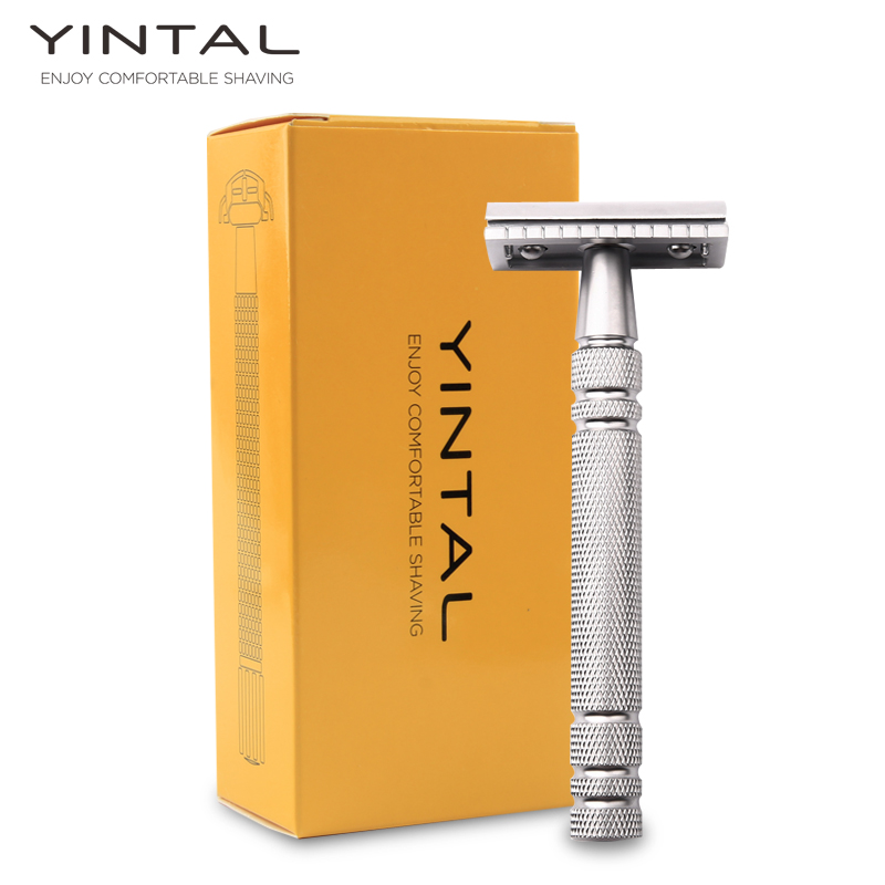 YINTAL 1 Razor Matte Silver Classic Safety Razor For Shaving Men Quality Brass Copper Handle Double Edge Manual Razors razors for shaving men double edge razor bright brass blade replaceable chrome manual classic safety razor