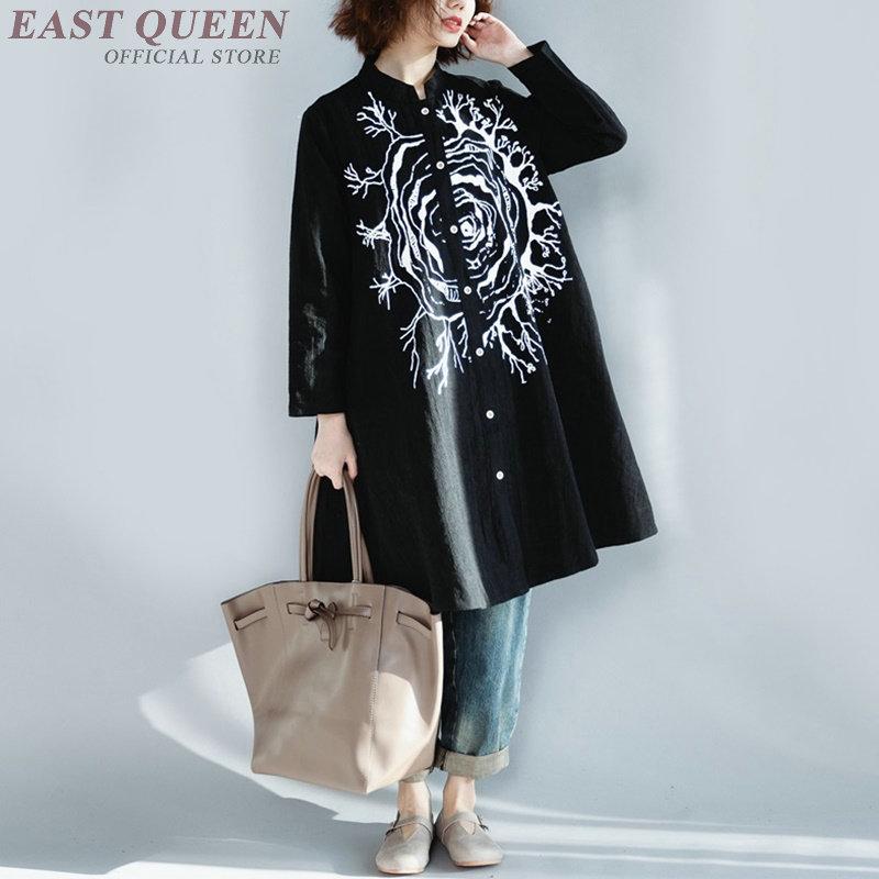 Chemise longue femme bohème chic hippie style mexicain femmes blouse 2018 Long kimono femme dames femmes hauts et blouse AA4164