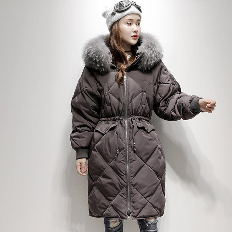 e63af6a13 US $85.93 |Fitaylor Winter Warm 90% White Duck Down Parka Large Real Fur  Collar Hooded Snow Jacket Coat Female Casual Medium Long Outerwear-in Down  ...