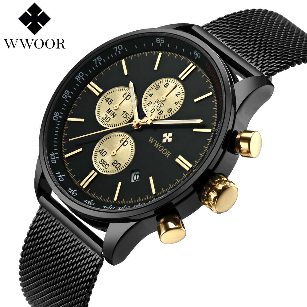 WWOOR Luxury Brand Watch Men's Casual Business Stainless Steel Mesh band Sport men Quartz Watch Fashion Thin Clock Chronograph