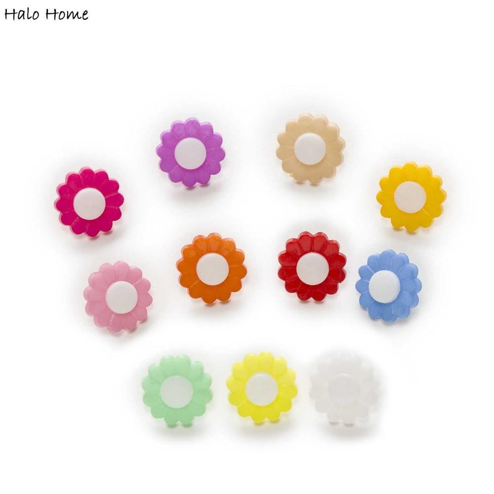 Mischfarbe 50 stücke Schaft Sunflower Nylon Knöpfe Hause Nähen Scrapbooking Kleidung Dekor Karte Machen DIY 15mm