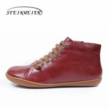 Men Winter Snow Boots Genuine leather Ankle Spring flat Shoes Man Short Brown Boots With Fur 2019 for men lace up boots northmarch men winter boots casual genuine leather business man shoes flat heel ankle boots for male comfortable orange boots