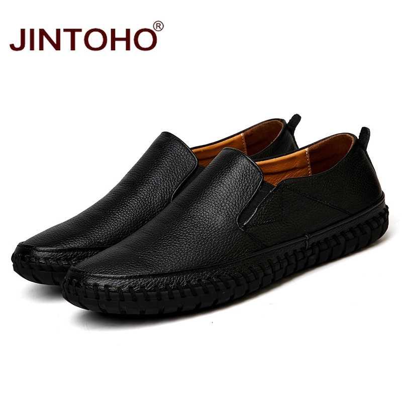 JINTOHO Big Size Mannen Echt Lederen Schoenen Slip Op Zwarte Schoenen Echt Leer Loafers Heren Mocassins Italiaanse Designer Schoenen