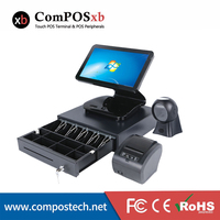 15.6 all in a pos system touch screen cash register Pos machine computer sales point pos With Omni directional barcode scanner