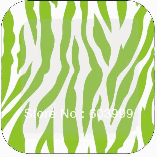 185cm 7 Inch 12 Animal Print Lime Green Coordinating Classics Zebra Stripes Square Paper Dessert