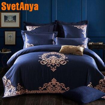 Роскошное темно-синее Европейское постельное белье, наборы, королева, король, размер, вышивка, Египетский хлопок, постельное белье, пододеял...