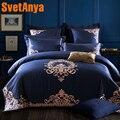 Роскошные темно синий европейский постельное бельё queen King Размеры вышивка из египетского хлопка постельное белье набор пододеяльников для ...