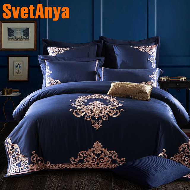 Luxury Deep Blue European Bedding Sets Queen King Size Embroidery Egyptian Cotton Bedlinens Duvet Cover Bedsheet Pillow Cases
