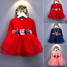 2016 Autumn style kids dress for girls flower lace princess party costume girl floral dress pearl kids clothes vestido meninas