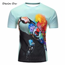 Devin Du 2017 New Arrival Fashion Tshirts Men/Women 3d T-shirt clown Digital Print Summer Tops Tees