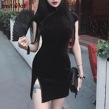 InstaHot Chinese Style Velvet Cheongsam Dress Women Bodycon Vintage Retro Short Sleeve Split Mini Traditional Lady Elegant Qipao