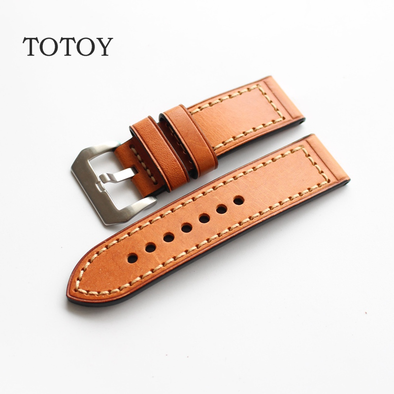 TOTOY Stitching Watchbands, 24MM / 26MM / 22MM / 20MM Italian Calfskin Strap, Retro Classic Men Models For PAM, Fast Delivery fast talk italian