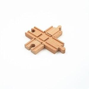 Image 2 - Accessoires de piste de Train en bois, piste croisée, jouets de chemin de fer compatibles avec toutes les pistes, jouets éducatifs, accessoires de chemin de fer