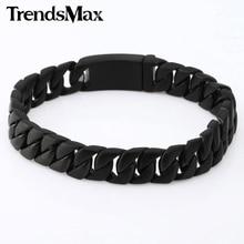 Trendsmax 11mm amplia curb cubano pulsera mens boys acero inoxidable 316l joyería de la cadena negro hb97
