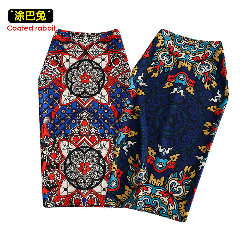 CR Geometric Ethnic Print Skirt Women Casual Pencil Skirts Western Fashion Design Vogue Girl Glim Bottoms