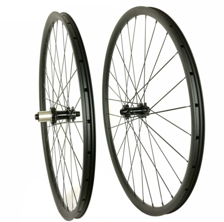27.5ER/650B MTB XC carbon wheel Hookless 30mm width 25mm depth clincher tubeless mountain bike carbon wheelset with Powerway M32 29er hookless carbon bicycle wheel tubeless mountain bike wheel set thru axle 15mm 29inch mtb wheel