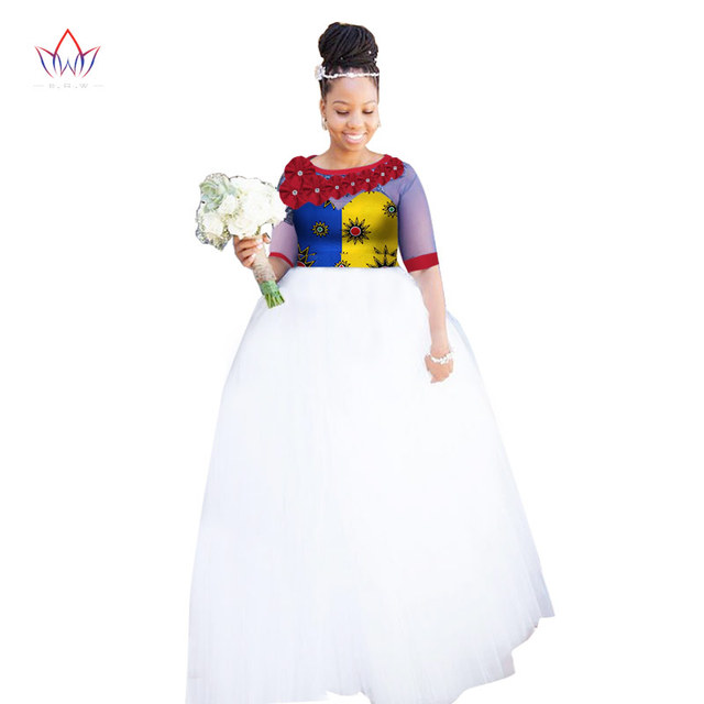 2018 New Autumn African Designed Yarn Dresses for Women African Clothing  Traditional Print Bazin Riche Clothing Plus Size WY1629 a05cd4650f9d