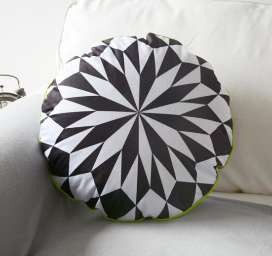 dia45cm fashion black white color geometric diamond pattern cushion sofa round throw pillow cushion decorative gifts