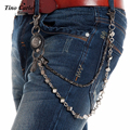 Tino Carlo Mens Silver Black Punk Wallet Keychain 2 Strands Dice Link Waist Jeans Chain Hip Hop Special Gothic Chains WK61