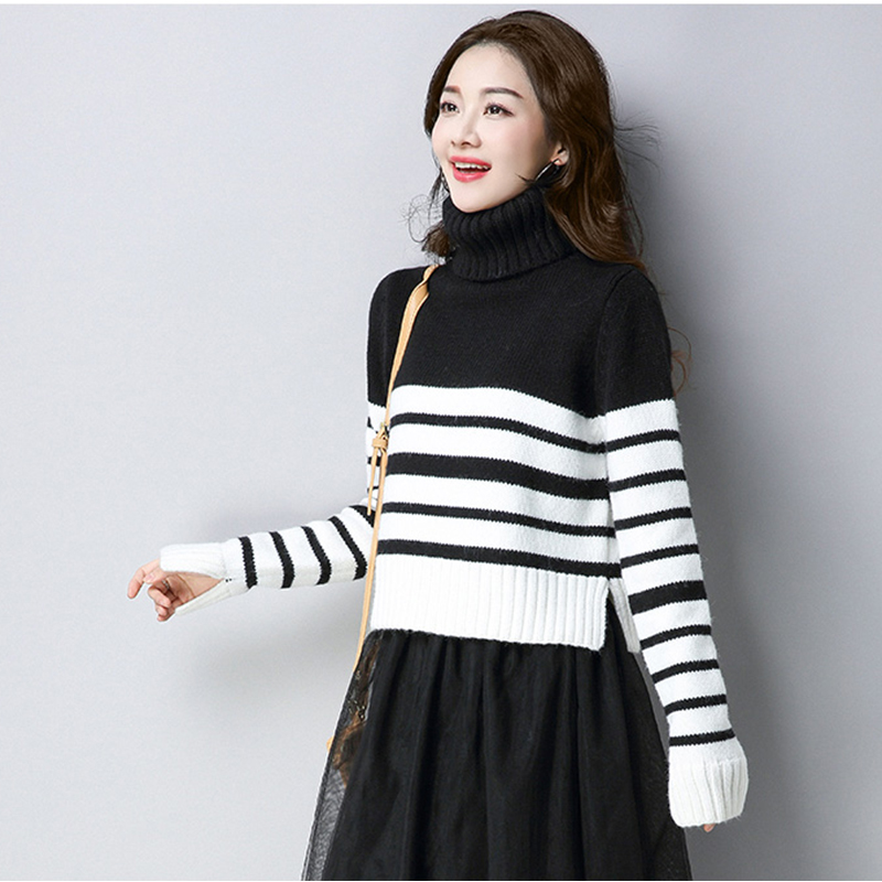 2018 autumn winter new sweater women loose wild lady high collar long sleeve Large size sweater female striped Pullovers ll781
