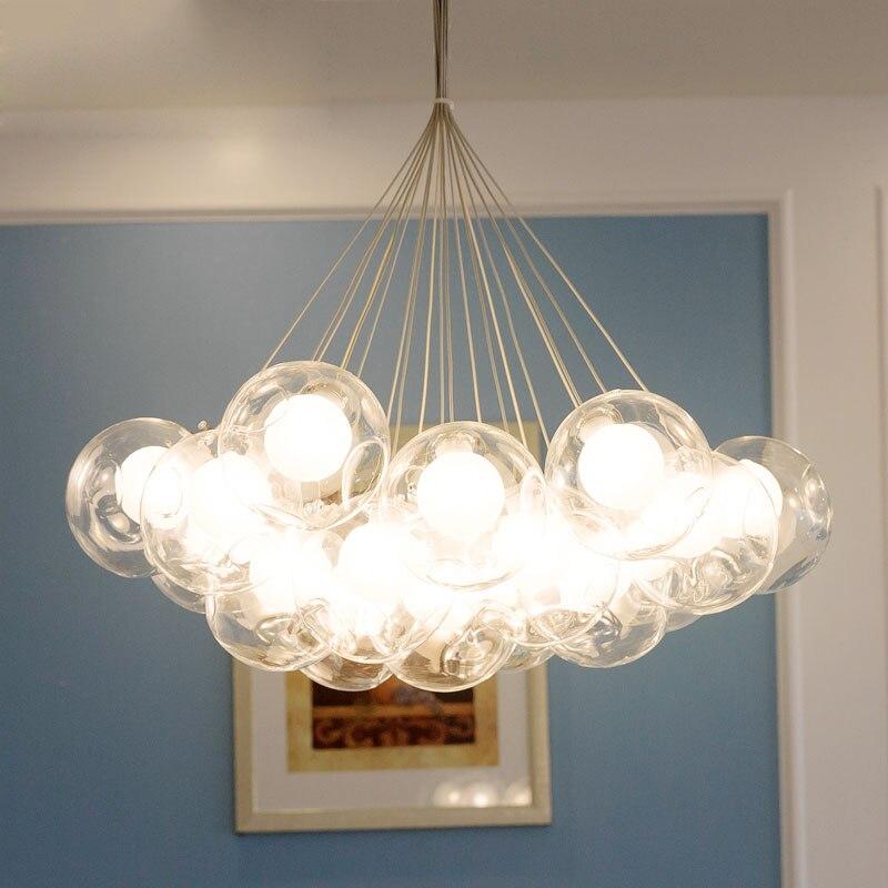 Post-modern Brief Creative Restaurant Dining Room Hotel Home Decor Lighting Fixture Bubble Glass Ball Pendant Light
