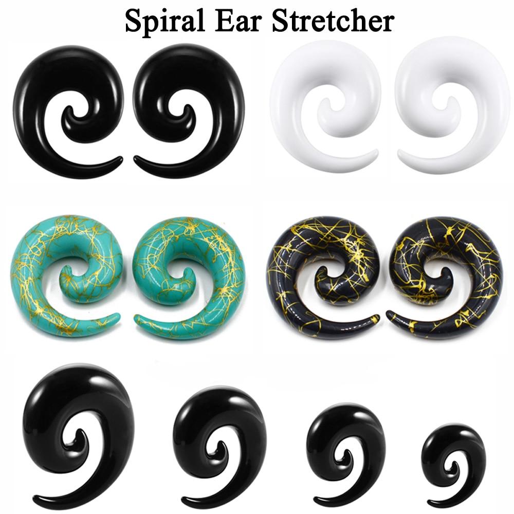 1 par de acrílico espiral orelha alongamento taper preto branco verde piercing orelha expansor plugues jóias do corpo 1.6mm-16mm frete grátis