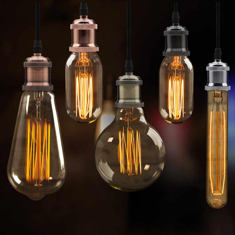 Luzes pingente de alumínio moderno e27 suporte da lâmpada 110 v 220 v luzes led incandescente vintage retro edison decoração lâmpada pendurada