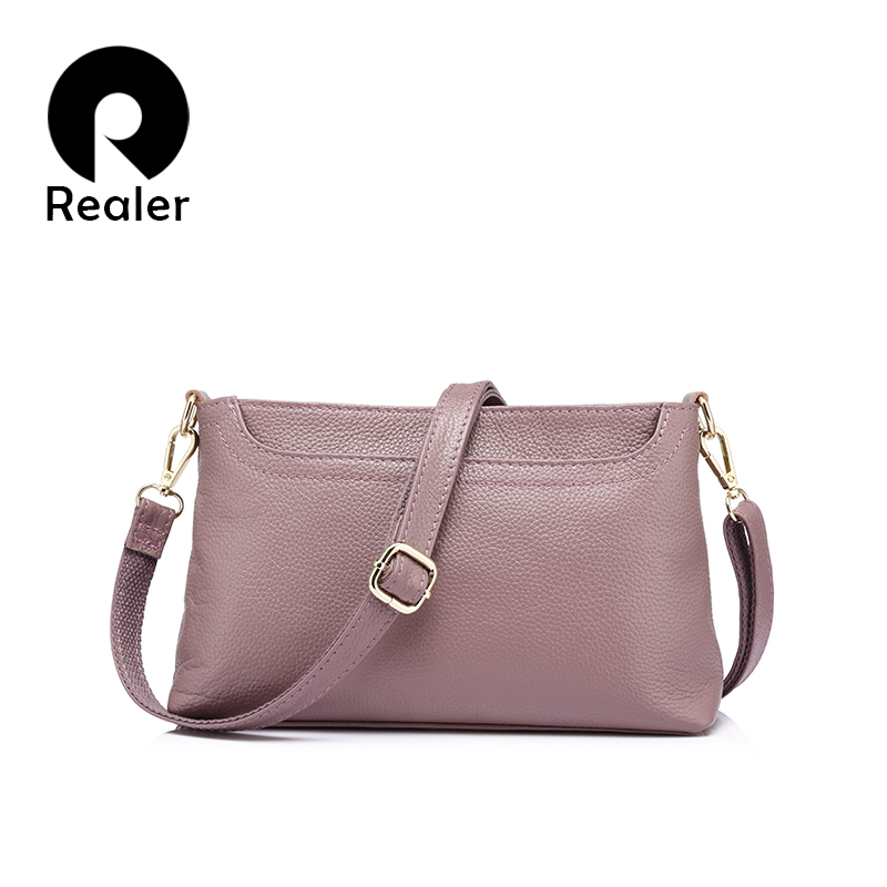 REALER Fashion Women Genuine Leather Messenger Bags Ladies Shoulder Bag Female Cross-body Bag For Women Handbag For Ladies(China)