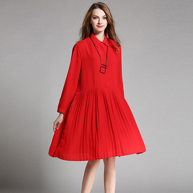 plus size pleated dress xxxxl women turn down colar long sleeve loose oversize dresses red black 2017 spring autumn 1910LY