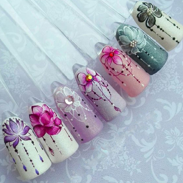 1pcs Slider Nail Sticker Gradient Lotus Decals Purple Flower Vine ...