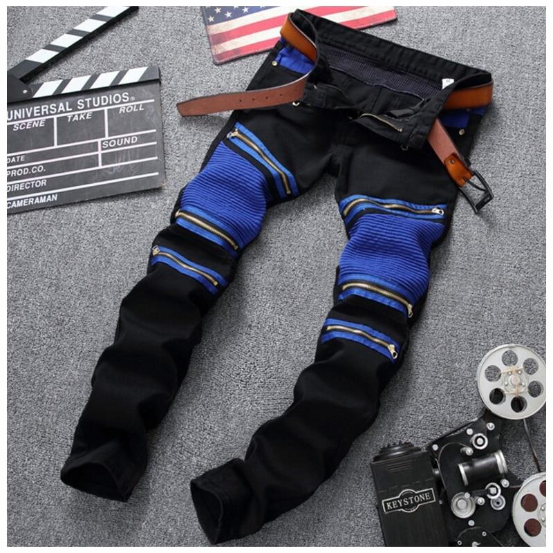 2018 Hot sale mulit zipper black and blue Slim jeans pants Elastic casual jeans pencil fashion high grade jeans