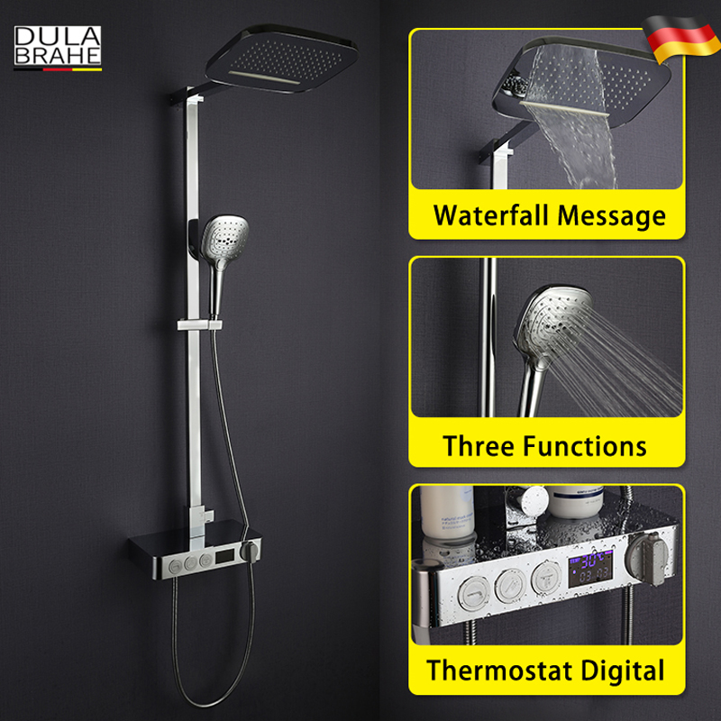 Thermostatic Bathroom Shower Faucet Set Digital Display Panel Intelligent Mixer Smart Rain Waterfall Rain Shower Head lcd touch thermostat temperature controller panel digital thermostatic shower mixer faucet panel thermostatic bath mixer conrtol
