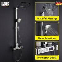 Thermostatic Bathroom Shower Faucet Set Digital Display Panel Intelligent Mixer Smart Rain Waterfall Rain Shower Head