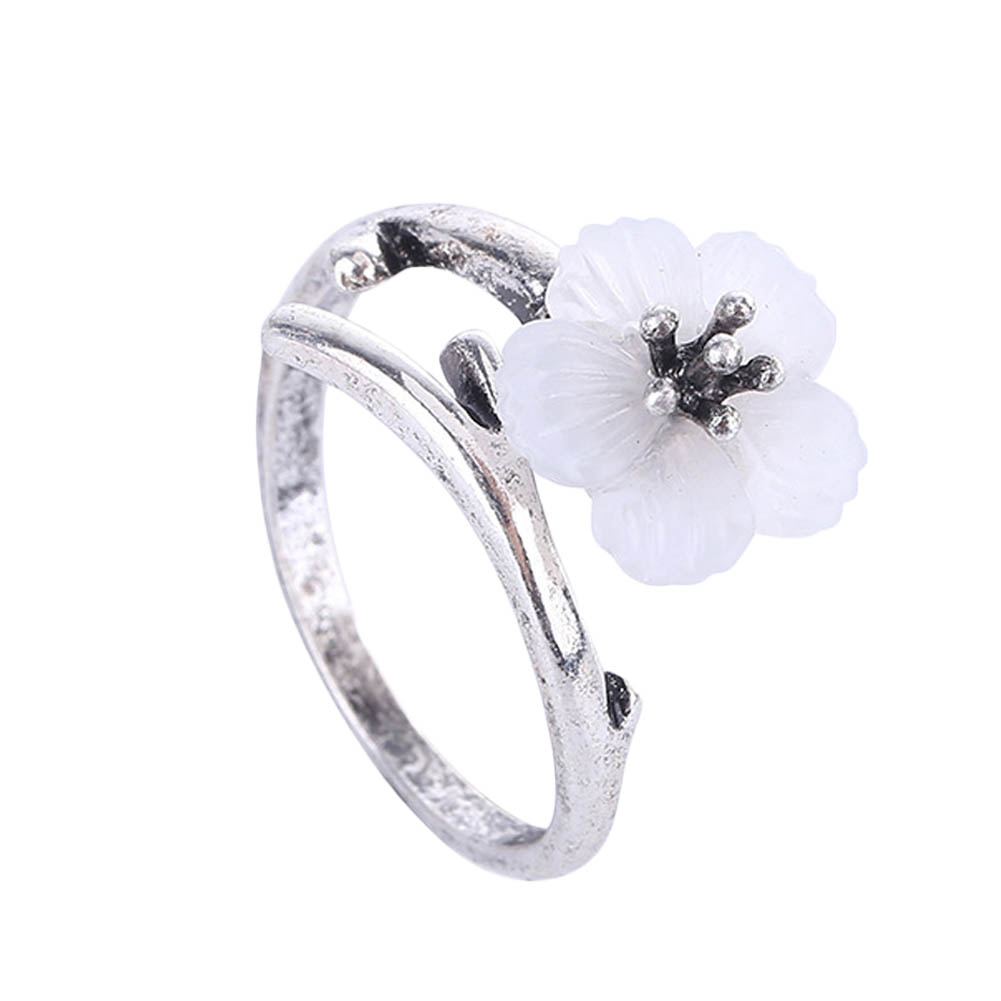 Branches Cherry Blossom Woman's Ring Cute Temperament Simple Small Flower Open Ring High Quality Jewelry Sales