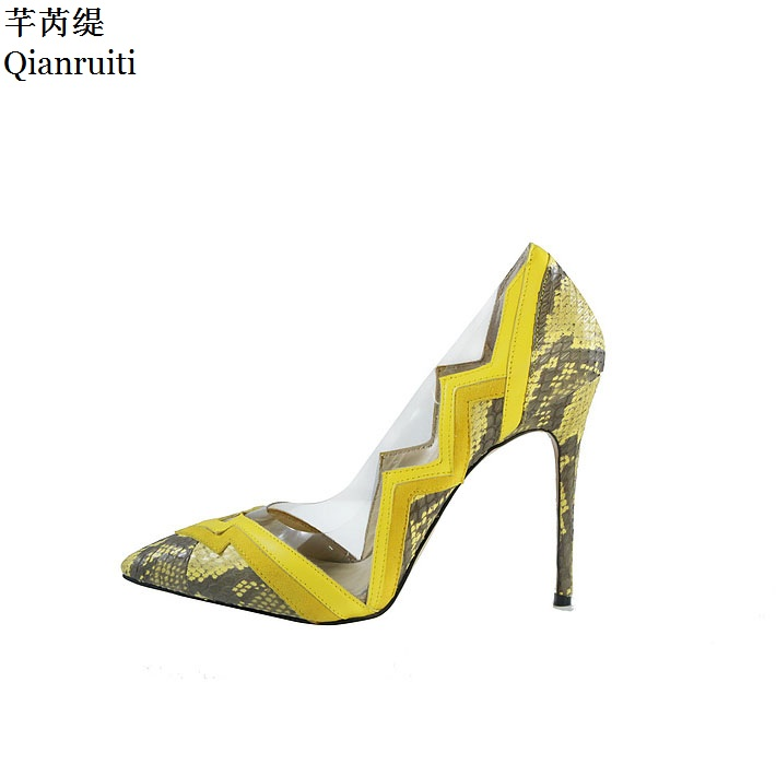 Qianruiti Patchwork Clear PVC Leather High Heels Shoes Sexy Pointed Toe Stiletto Heels Women Pumps Slip-On Wedding Party Shoes цены онлайн