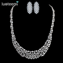 LUOTEEMI Luxury Bridal Wedding Jewelry White Gold Plated AAA+ Cubic Zirconia Big Earrings and Necklace Jewelry Sets
