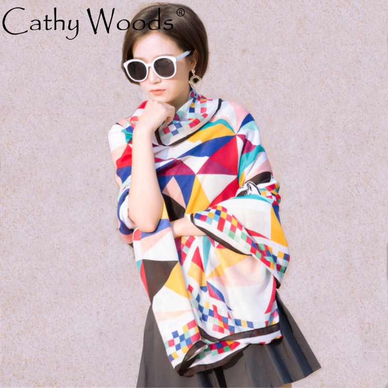 CW cotton and linen rainbow lattice fight color printing scarf beach sunscreen shawl for ...