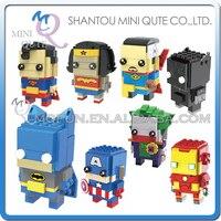 Full Set 8 Box Mini Qute LOZ Marvel Avenger 2 In 1 Superman Thor Diamond Plastic