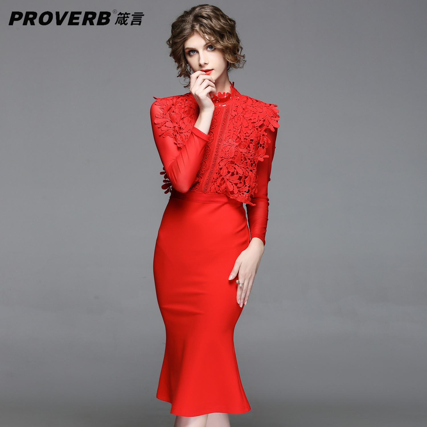 PROVERB Red Women Party Desses Stand Long Sleeve Autumn Winter bodycon Midi Dresses Christmas elegant party dresses vestidos