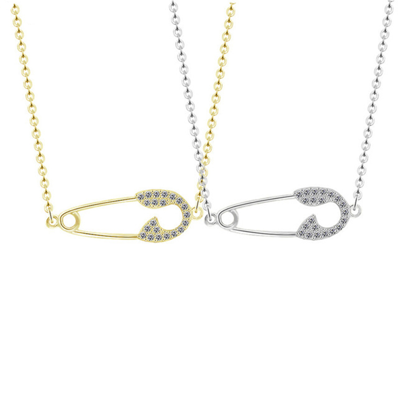 Famous Brand Designer Sparkling Unique Cubic Zirconia Pin Necklaces Gold Color Statement Crystal Safety Pin Pendant Necklace