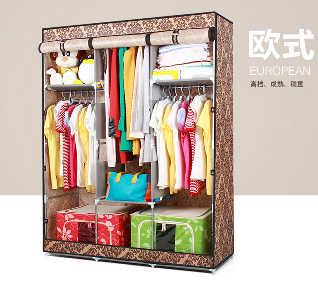 aliexpresscom buy free shipping bedroom furniture simple wardrobe large reinforce steel cloth wardrobe closet large capacity wardrobes from reliable - Shipping Bedroom Furniture
