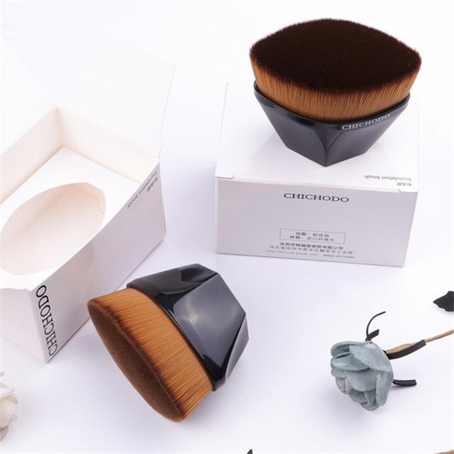 High-end No.55 Foundation Brush Smooth Dense Full Coverage Liquid Foundation BB Cream Flat Makeup Brush Diamond Shape with Box
