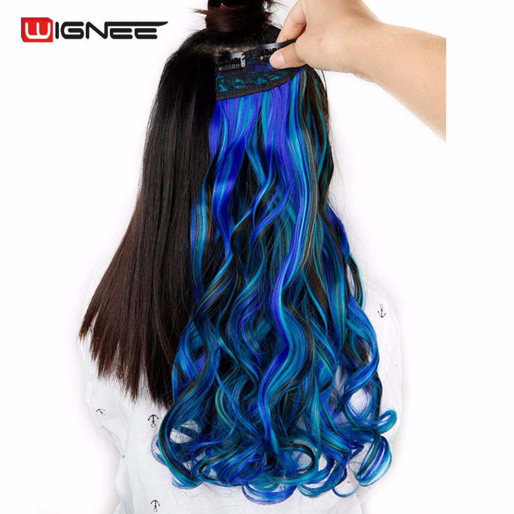 Wignee High Temperature Synthetic Fiber 5 Clips In Hair Extensions For Black/White Women Mixed Color Pink/Blue/Green Haitstyles